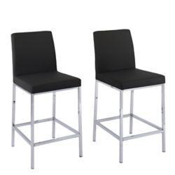 Corliving Huntington Counter Height Bar Stools in Black Leatherette with Chrome Legs (Set of 2)