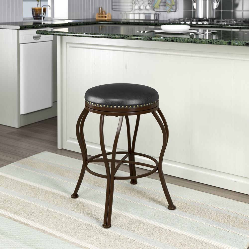 Corliving Jericho Metal Counter Height Barstool with Dark Brown Bonded Leather Seat