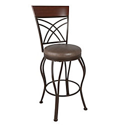 Corliving Jericho Metal Bar Height Bar Stool with Rustic Brown Bonded Leather Seat