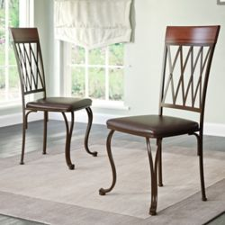 Corliving Jericho Metal Dining Chair with Dark Brown Bonded Leather Seats, (Set of 2)