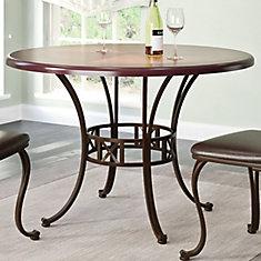 Table pour salle à manger, en métal et en bois aux tons chauds