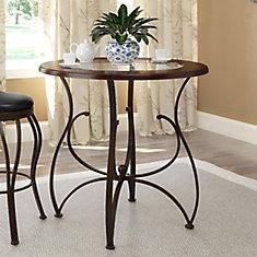 Table à hauteur de comptoir de 36po, en verre et bois aux tons chauds