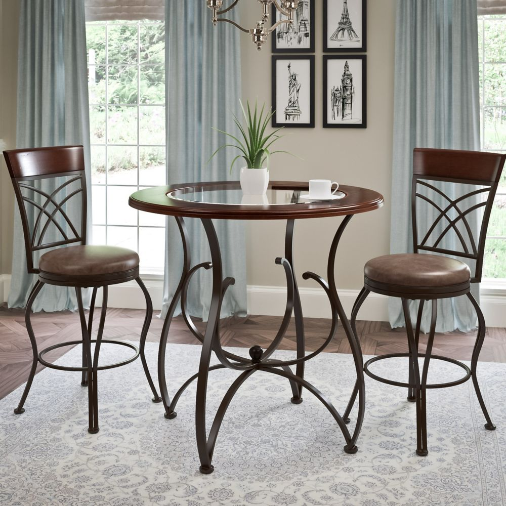 Corliving Jericho 3pc Counter Height Rustic Brown Barstool and Bistro Table Set