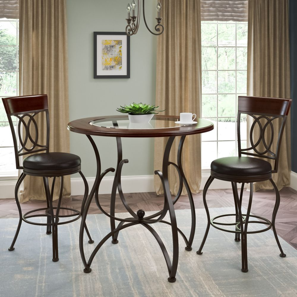 Corliving Jericho 3pc Counter Height Matte Brown Barstool and Bistro Table Set