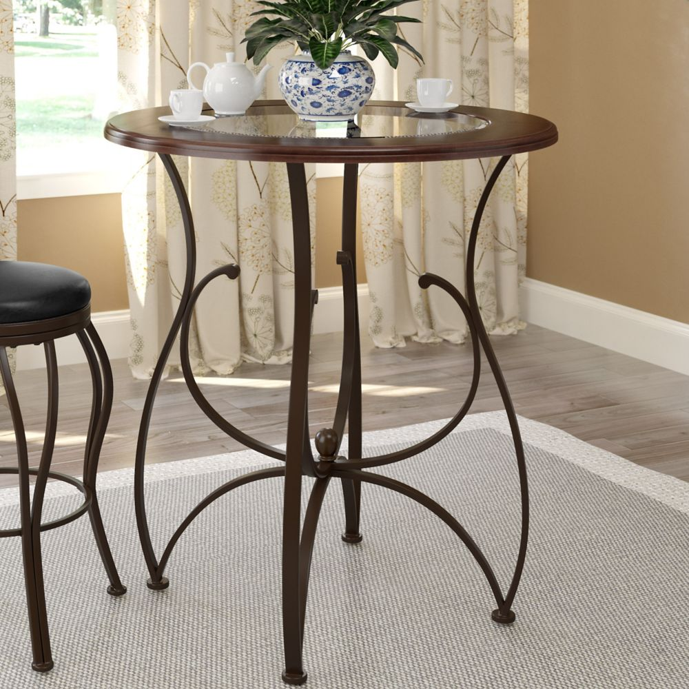 """Corliving Jericho 42"""" Bar Height Warm Stained Wood and Glass Dining Table"""
