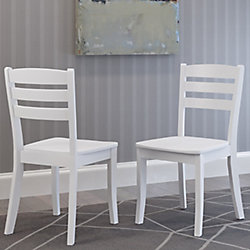 Corliving Dillon White Solid Wood Dining Chairs with Horizontal Slat Backrest, (Set of 2)