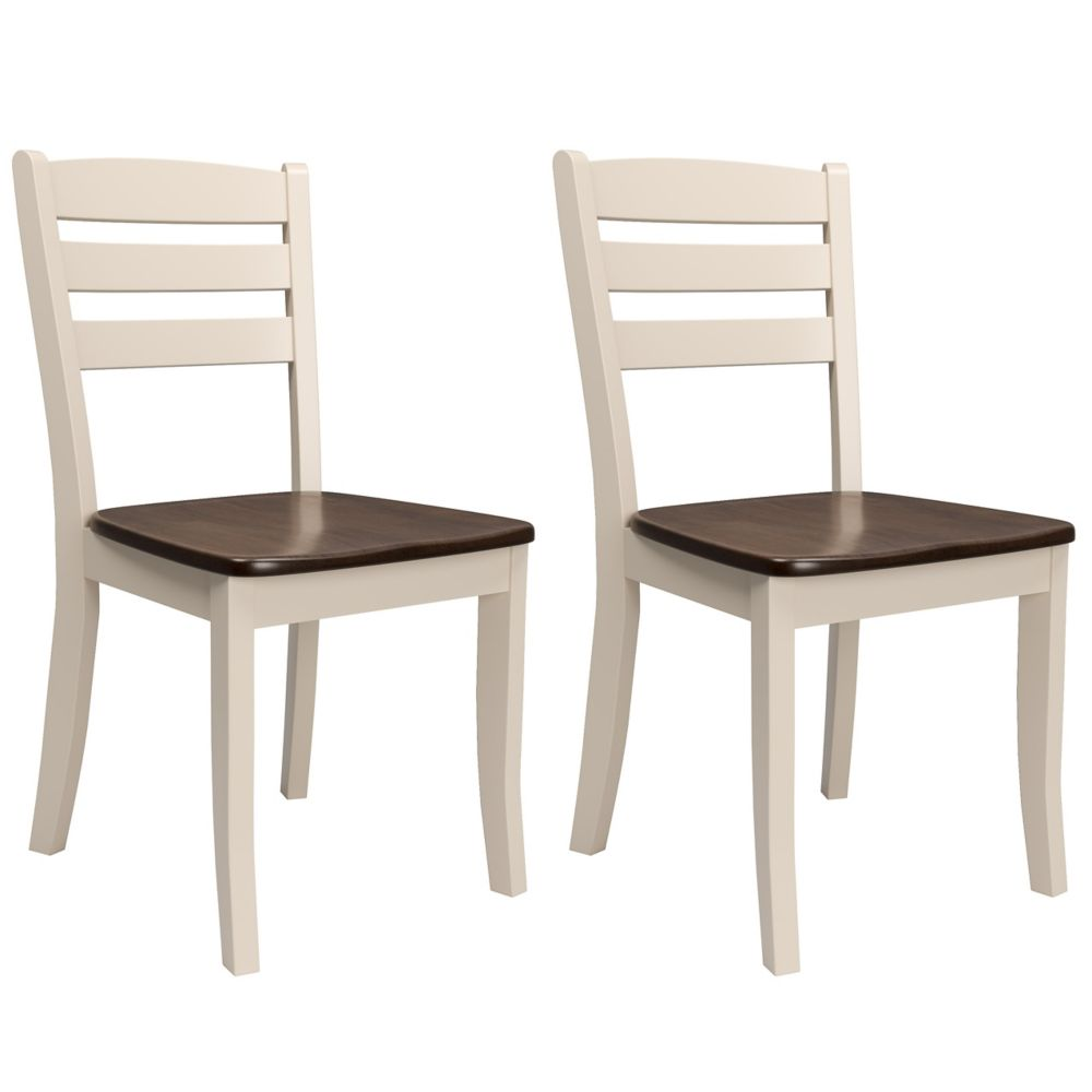 Corliving Dillon Dark Brown and Cream Solid Wood Dining Chairs with Horizontal Slat Backrest, (Set of 2)