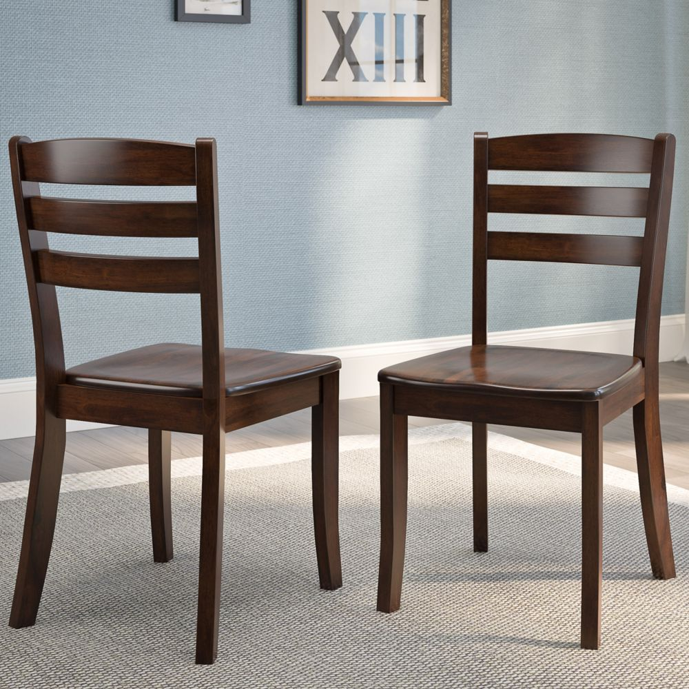 Corliving Dillon Cappuccino Stained Solid Wood Dining Chairs with Horizontal Slat Backrest, (Set of 2)
