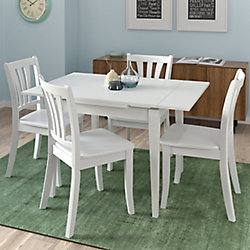 Corliving Dillon 5-Piece Extendable White Wooden Dining Set