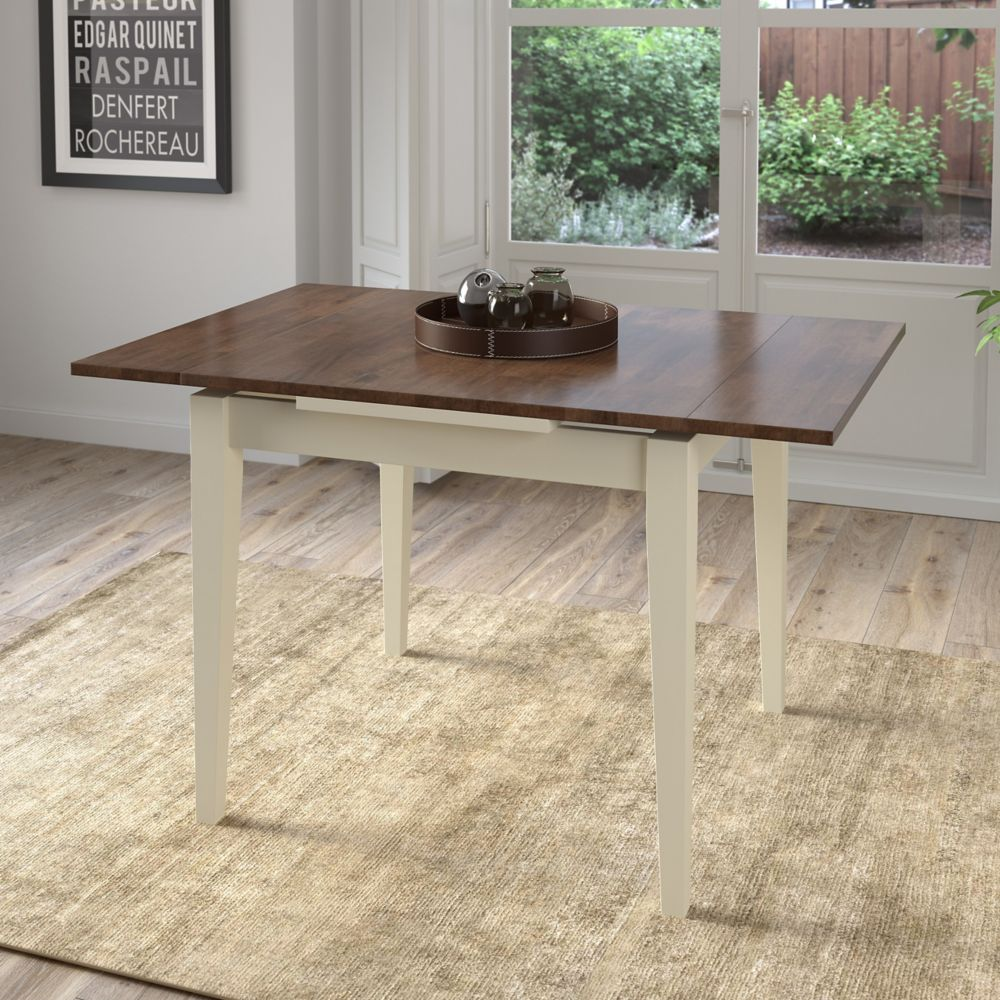 Corliving Dillon Extendable Dark Brown and Cream Dining Table with Two 8in Leaves