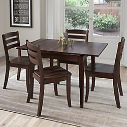 Corliving Dillon 5-Piece Extendable Cappuccino Stained Solid Wood Dining Set