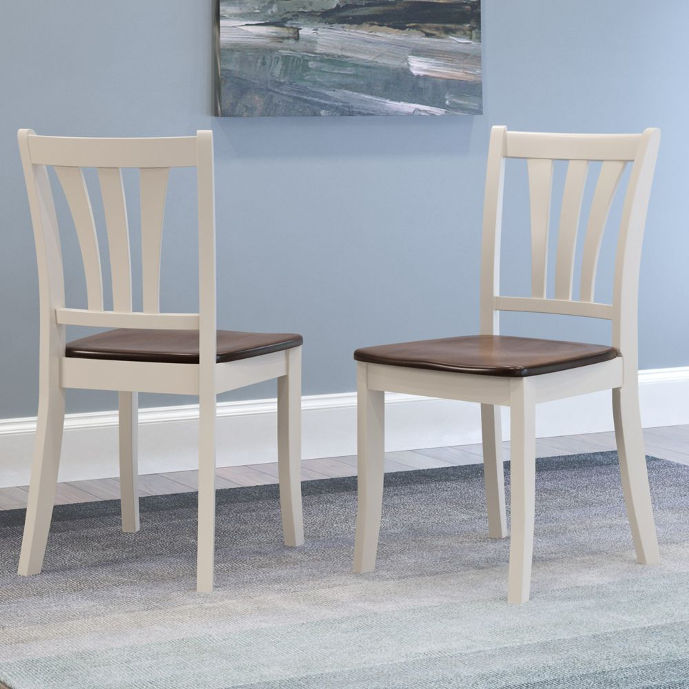 Corliving Dillon Dark Brown and Cream Solid Wood Dining Chairs with Curved Vertical Slat Backrest, (Set of 2)