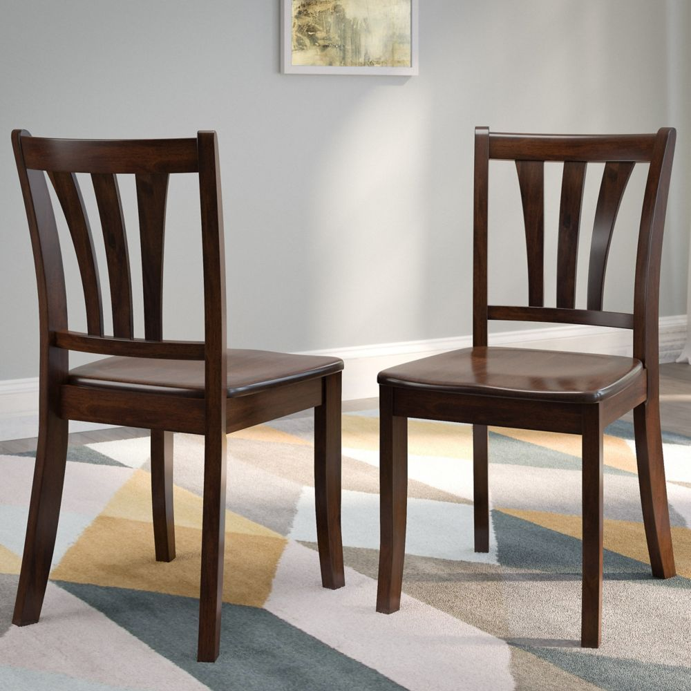 Corliving Dillon Cappuccino Stained Solid Wood Dining Chairs with Curved Vertical Slat Backrest, (Set of 2)