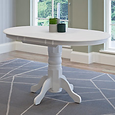 Dillon Extendable White Oval Pedestal Dining Table With 12in Butterfly Leaf