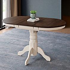 Table ovale extensible avec rallonge-papillon 12 po, crème/brun foncé