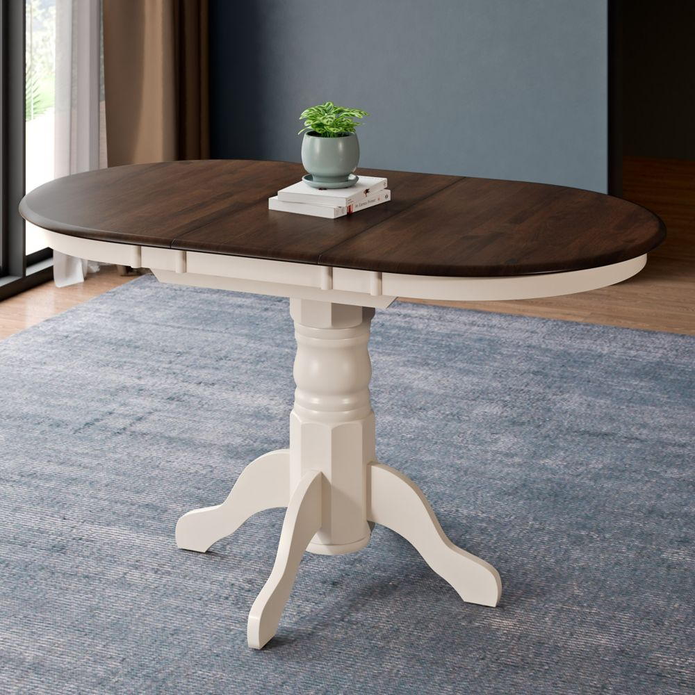 Corliving Dillon Extendable Dark Brown and Cream Oval Pedestal Dining Table with 12in Butterfly Leaf