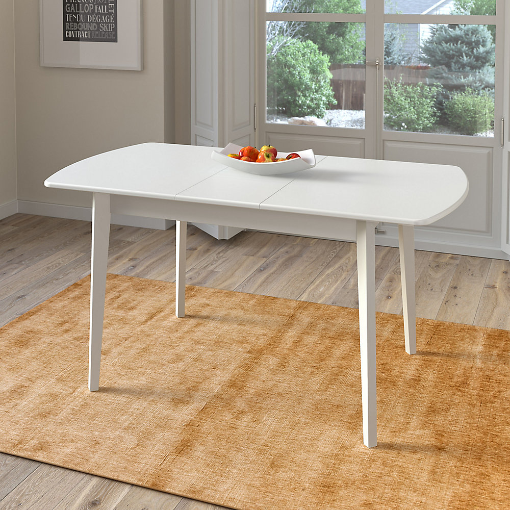 Dillon Extendable White Oblong Dining Table with 12in Butterfly Leaf