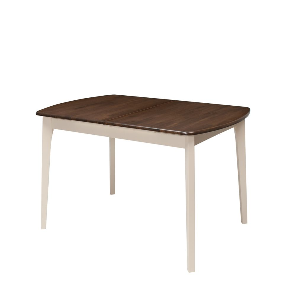 Corliving Dillon Extendable Dark Brown and Cream Oblong Dining Table with 12in Butterfly Leaf
