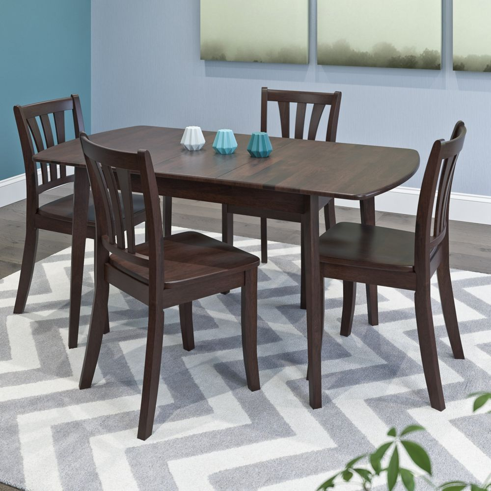 Corliving Dillon 5 Piece Extendable Cappuccino Stained Solid Wood Dining Set