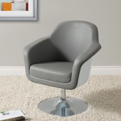 Corliving Mod Modern Bonded Leather Accent Chair, Grey and White