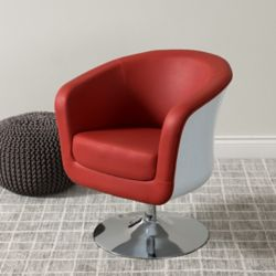 Corliving Mod Modern Bonded Leather Tub Chair, Red and White