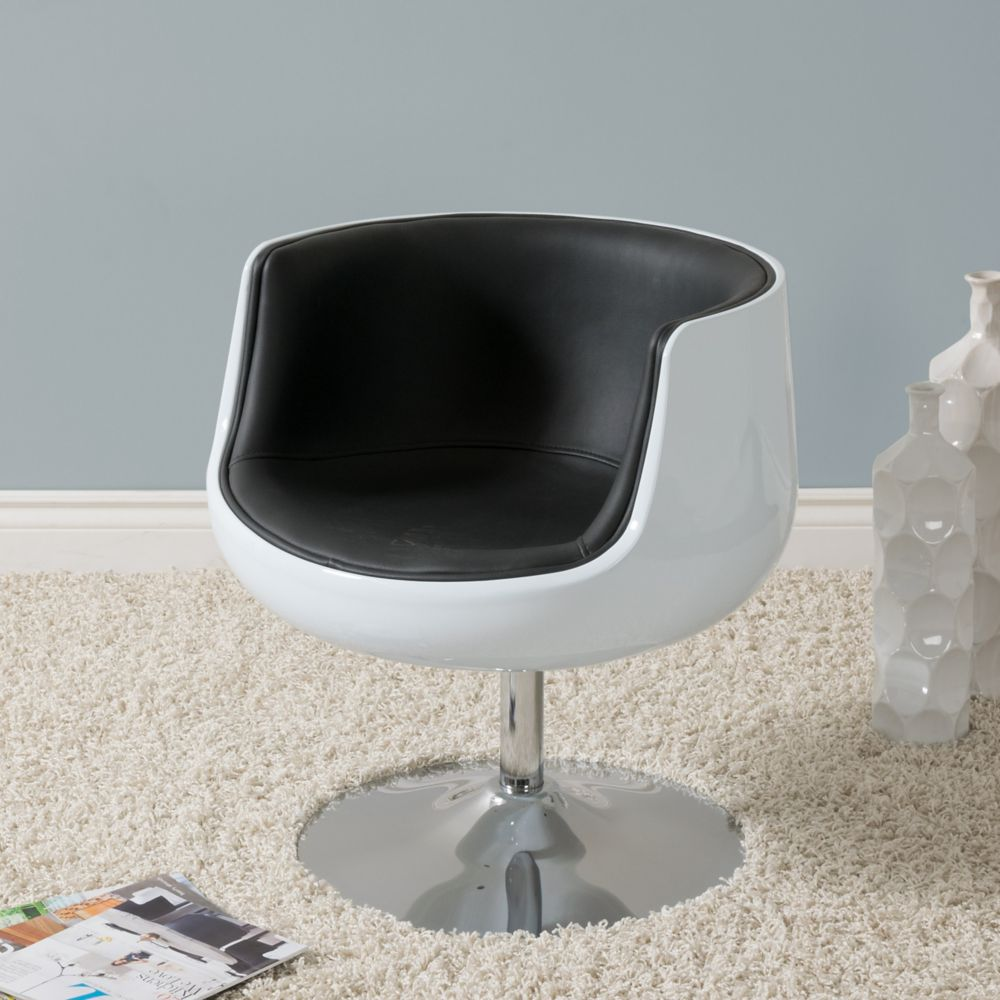 Corliving Mod Modern Bonded Leather Barrel Chair, Black and White