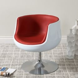 Corliving Mod Modern Bonded Leather Barrel Chair, Red and White