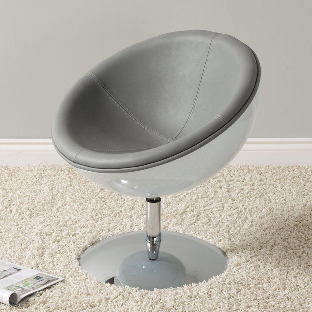 Corliving Fauteuil circulaire moderne Mod en cuir reconstitué, gris et blanc