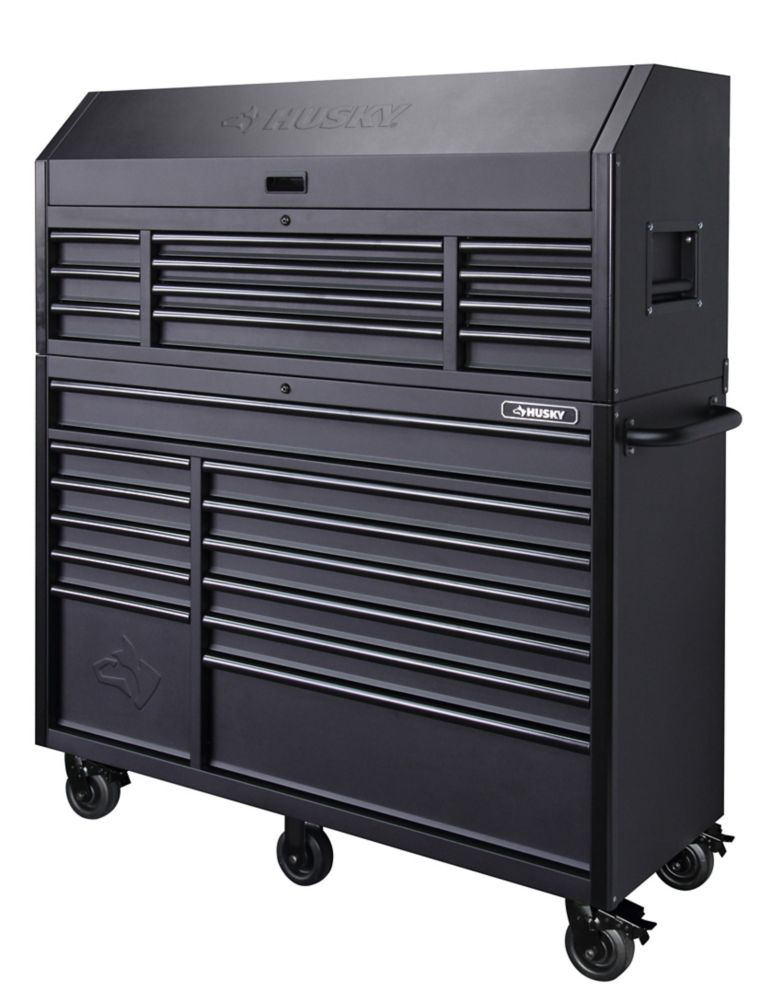 HUSKY 56-inch 23-Drawer Tool Chest and Rolling Cabinet Set in Textured Black Matte