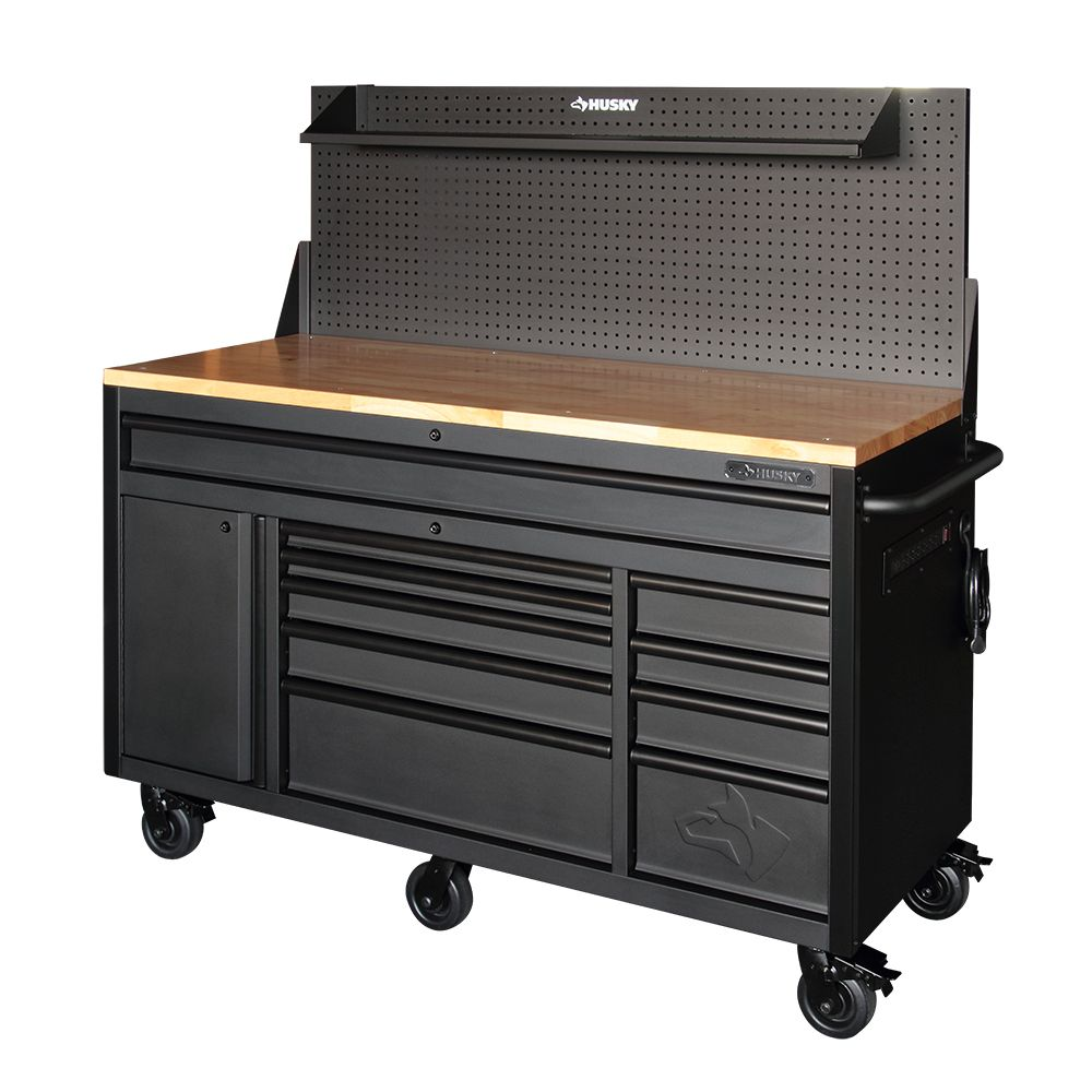 61-inch 10-Drawer 1-Door 24-inch D Mobile Workbench with Pegboard and Shelf in Matte Black