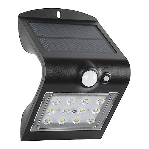 Defiant 120-Degree Solar Motion Activated Outdoor Integrated LED Area Light with Double Lighting (Black)