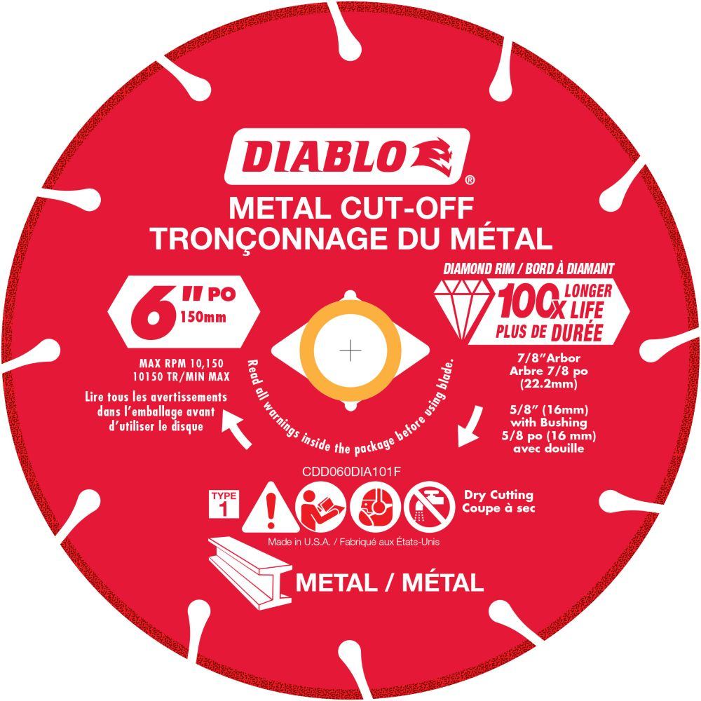 Meule 6 pouce à diamant pour tronçonner le métal