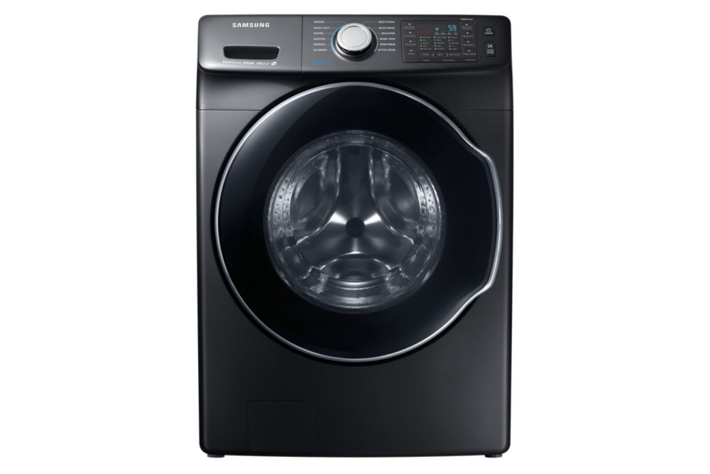 Samsung 5.2 cu. ft. Front Load Smart Home Ready Washer with Steam Washing Function in Black