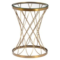 Pulaski Concave Round Brass Metal Accent Table with Glass Top