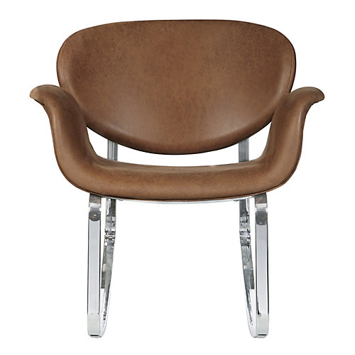 Faux Leather Metal Back Rocking Chair in Brown
