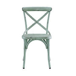 Pulaski Distressed Antique Metal Dining Chair in Blue/Green