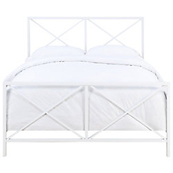 Pulaski All-In-One White High Gloss 'X' Patterned Queen Metal Bed