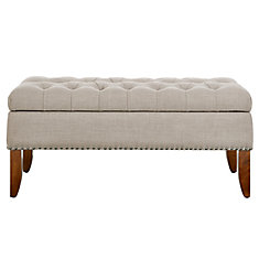 Hinged Top Button Tufted Bed Bench in Beige with Storage
