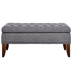 Hinged Top Button Tufted Bed Bench in Grey with Storage
