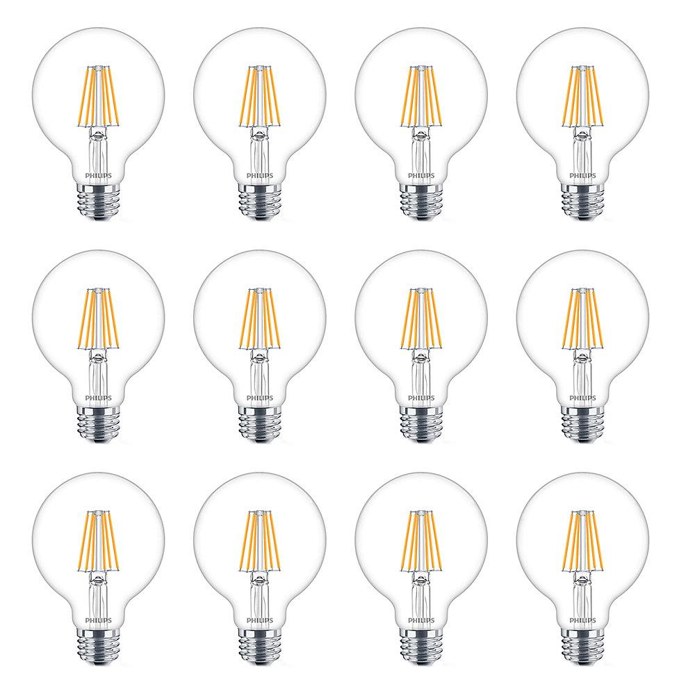 LED 40W G25 Globe Soft White WarmGlow Clear Glass - Case of 12 Bulbs