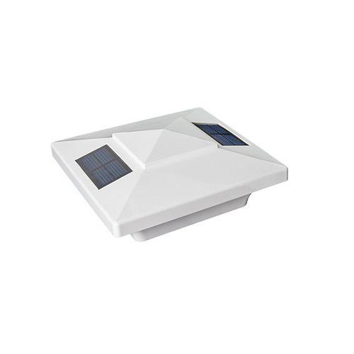 Classy Caps Windsor 4 inch x 4 inch Outdoor White Vinyl LED Solar Post Cap
