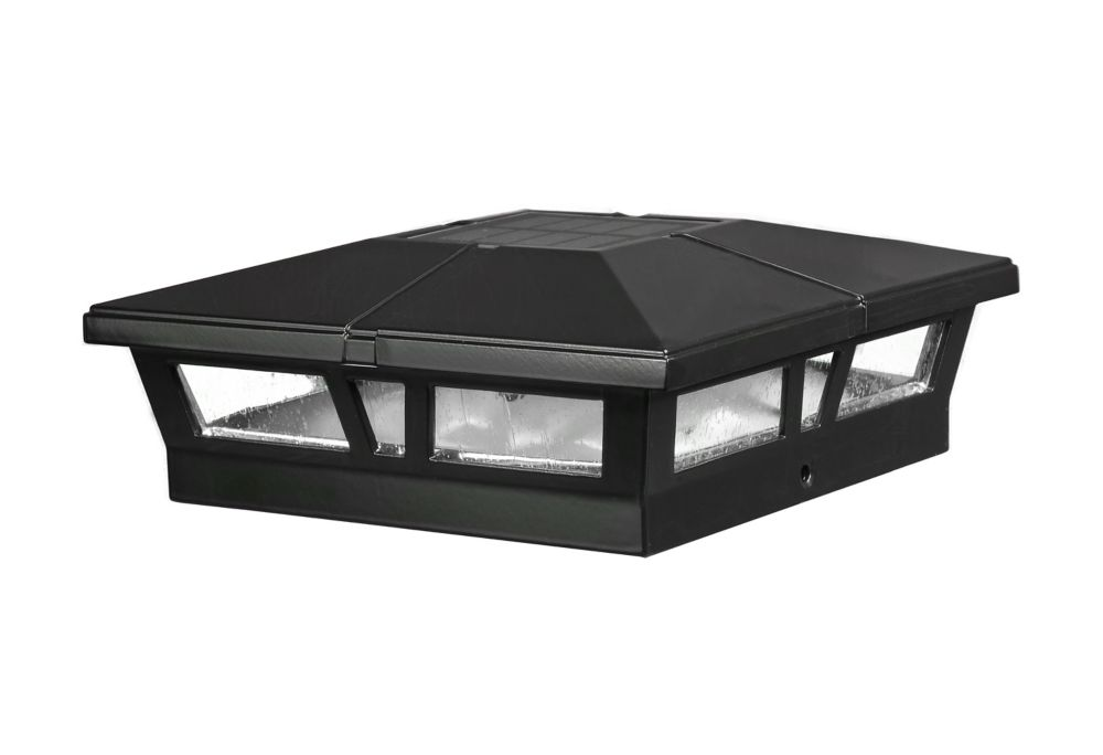 Classy Caps Cambridge 6 inch x 6 inch Outdoor Black LED Solar Post Cap