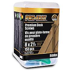 8 x 2-1/2-Inch PRO Deck Screws in Brown (150-Piece)
