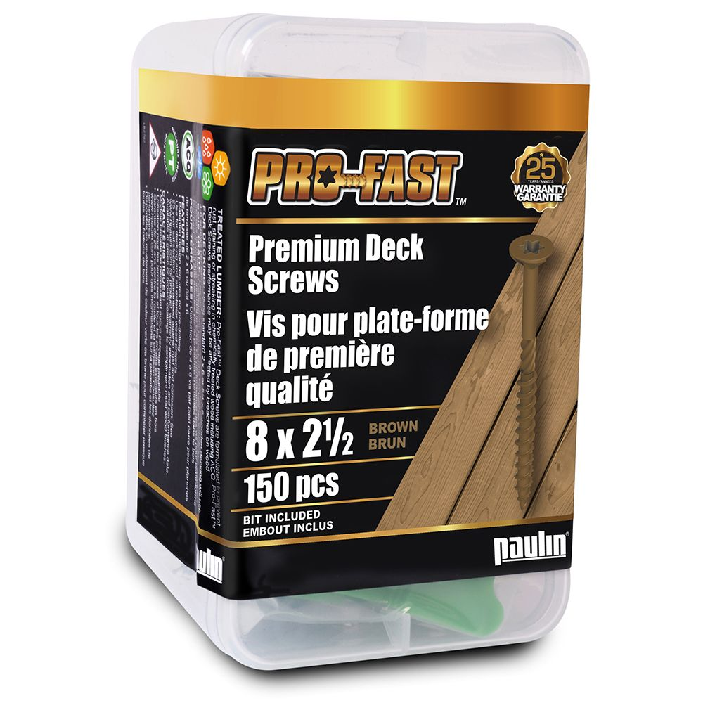 8 x 2-1/2-Inch PRO Deck Screws in Brown (150 pieces)