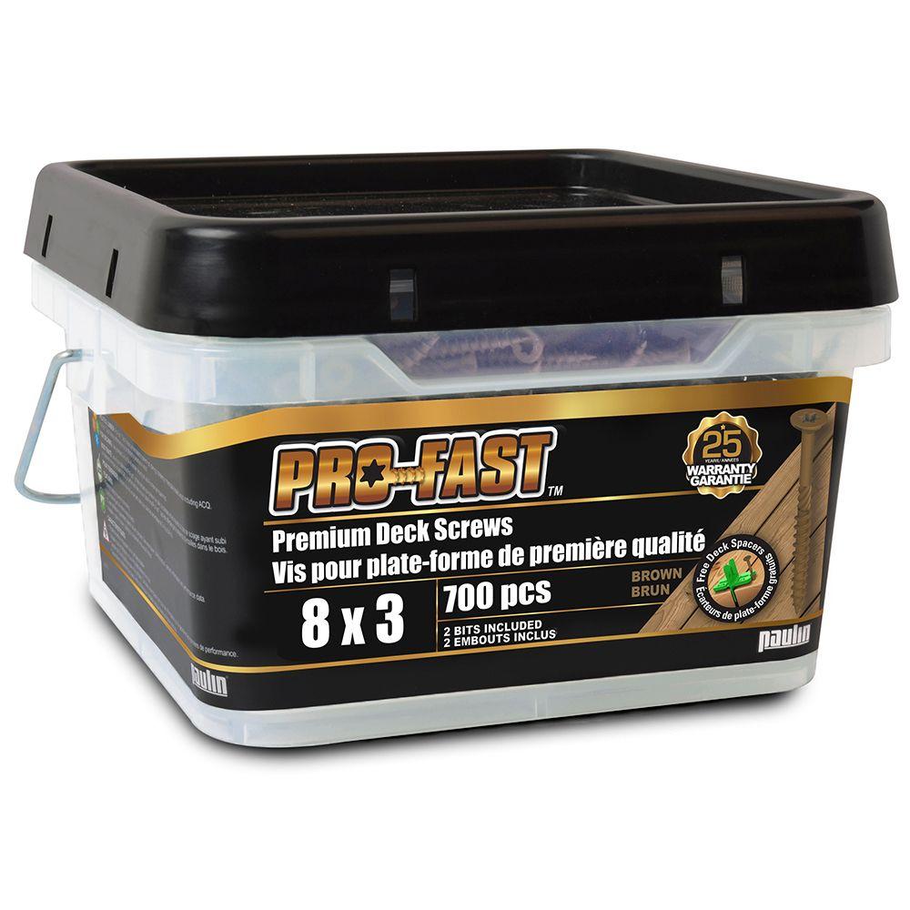 PROFAST #8 x 3-inch Star Drive PRO-FAST(TM) Premium Deck Screws in Brown - 700pcs