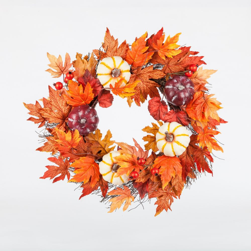 HAR 22-inch Maple Leaf and Pumpkin Harvest or Halloween Wreath