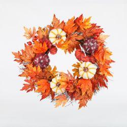 HAR Gilet de feuilles d'érable et de citrouille de 22 pouces ou couronne d'Halloween