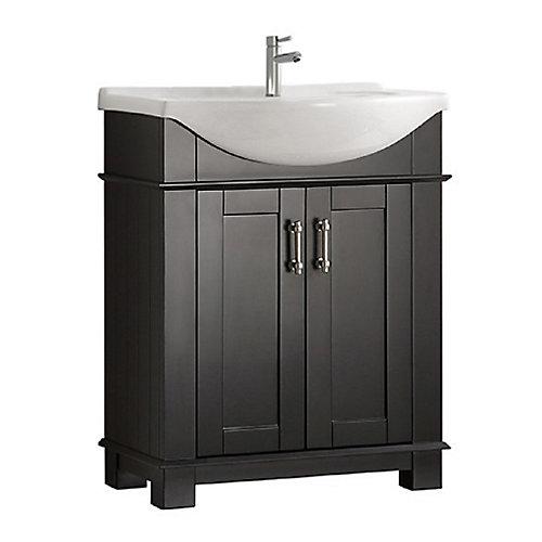 Hudson 30 in. Bathroom Vanity in Black with Ceramic Vanity Top in White