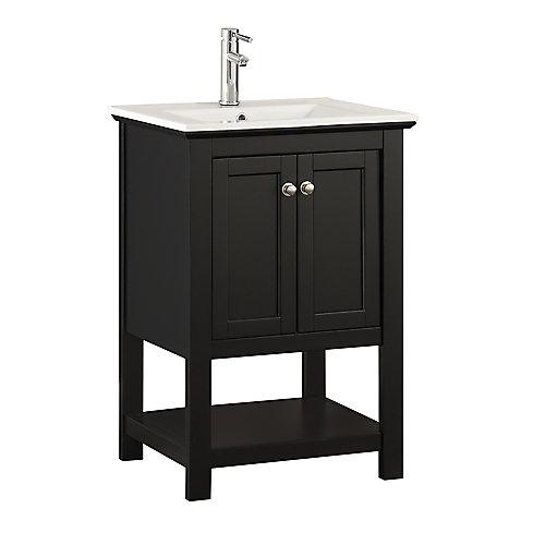 Bradford 24 in. Bathroom Vanity in Black with Ceramic Vanity Top in White
