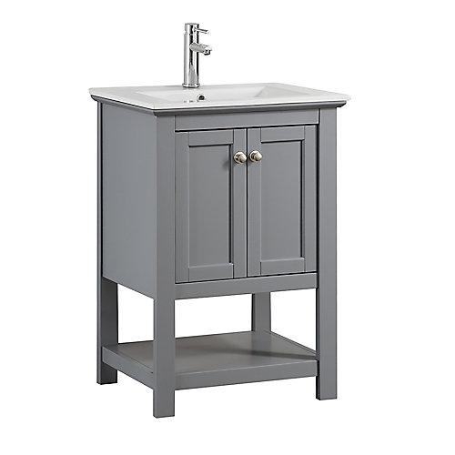 Bradford 24 in. Bathroom Vanity in Gray with Ceramic Vanity Top in White